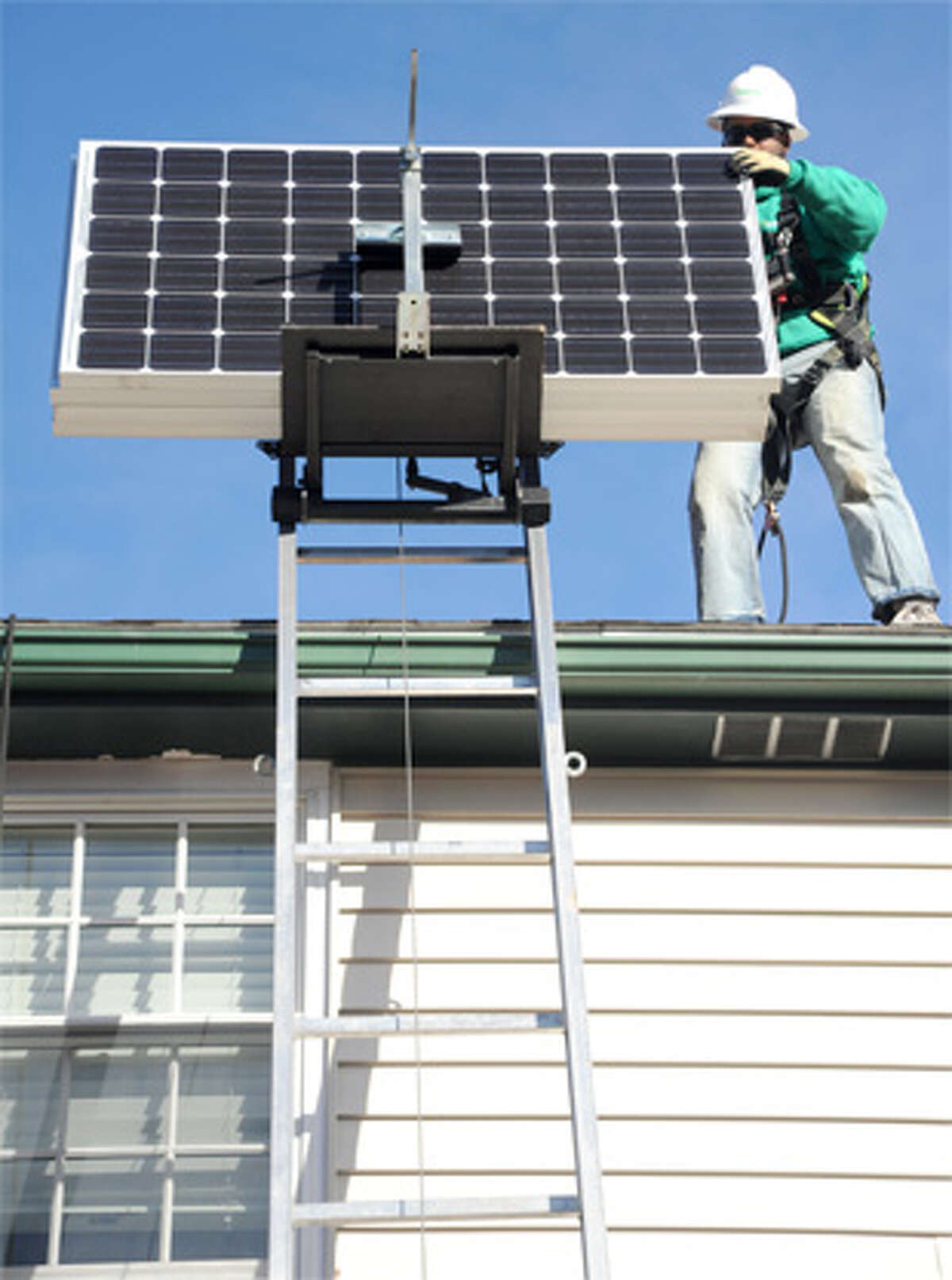 A Next Step Living solar power installation on the roof of a home.
