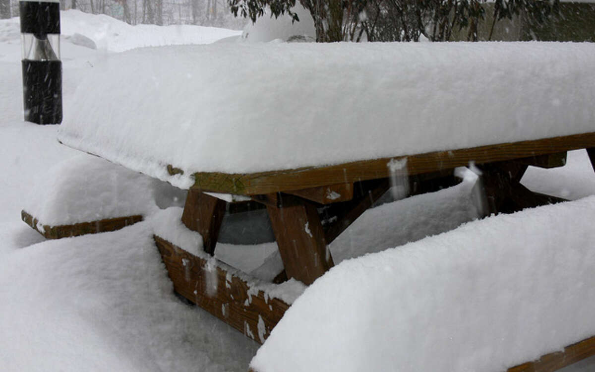 A snow-covered picnic table in Shelton on Thursday, just before noon.