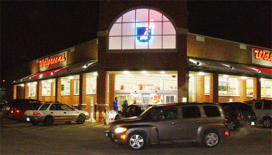 A nighttime view of the Walgreens on Bridgeport Avenue in Shelton.