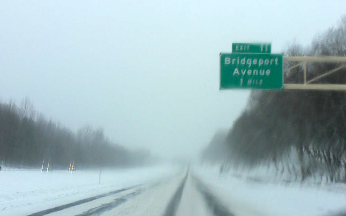 Route 8 southbound in Shelton on Thursday morning about 8:30 a.m., at the start of the snowstorm.