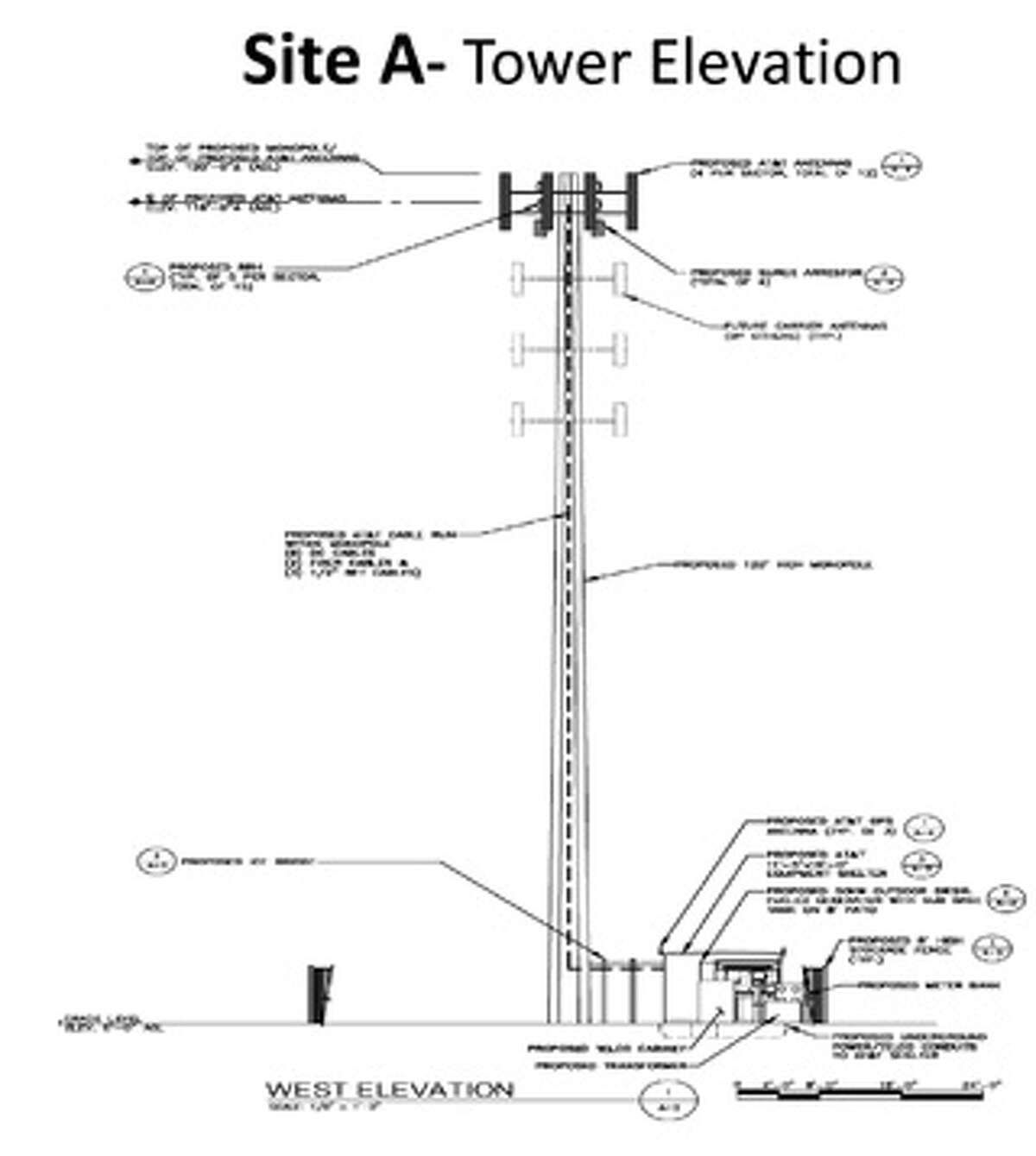 A rendering of the AT&T monopole cell tower that could be proposed for Site A, off Perry Hill Road on Highland Golf Club property