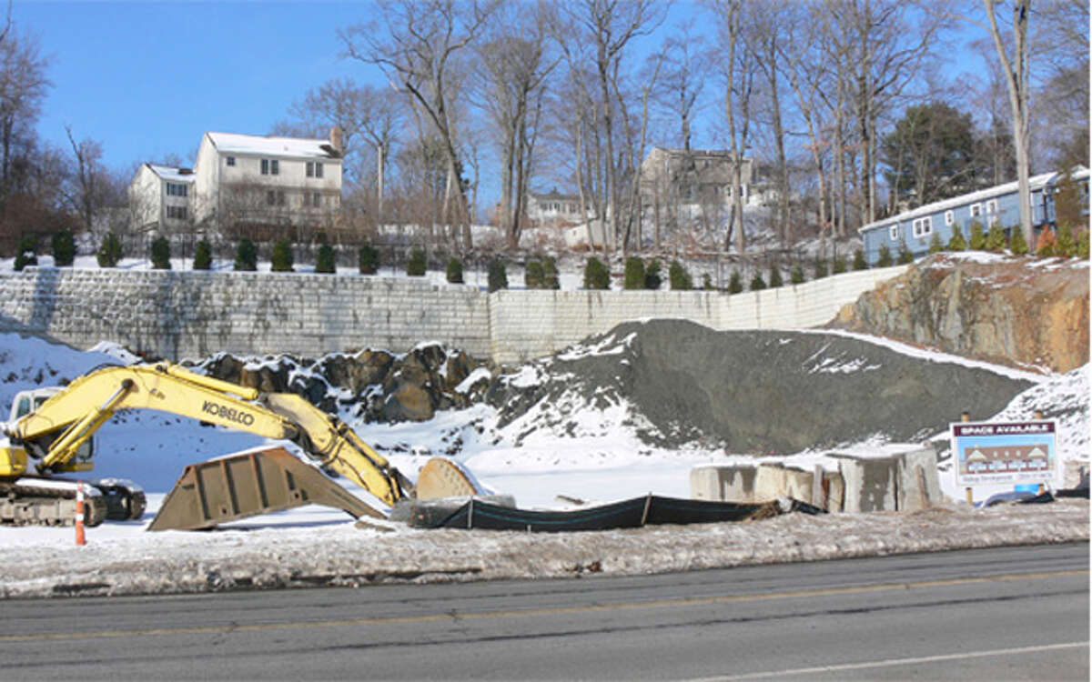 A view of the excavation work being done to create space for a retail building and parking lot at 781-785 River Road in Shelton.