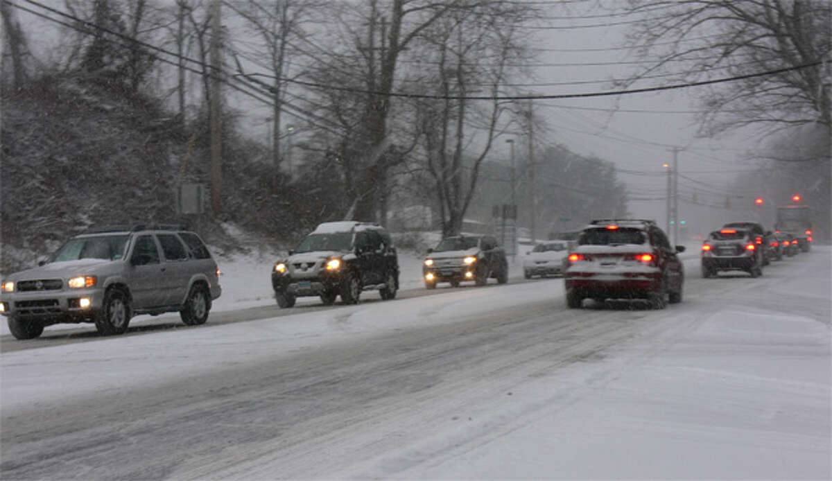 Cars back up on lower Bridgeport Avenue, near the Stop & Shop, during today's snowstorm.