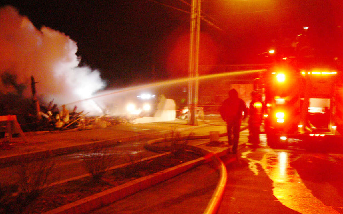 An early Wednesday morning photo of the Howe Avenue fire scene in Shelton, by Brad Durrell.