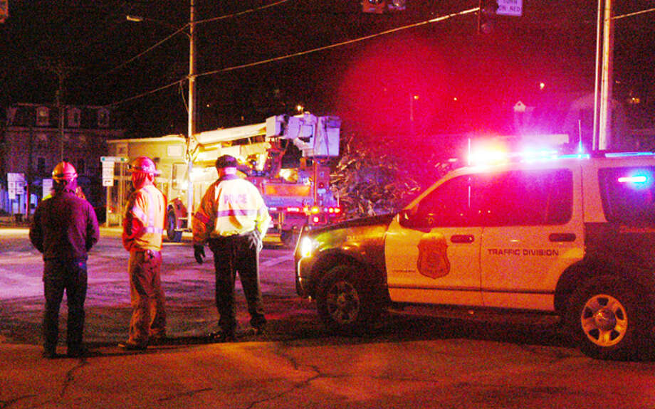 A photo of the downtown Shelton fire scene, with Shelton police and UI personnel, taken at about 9:30 p.m. on Monday.