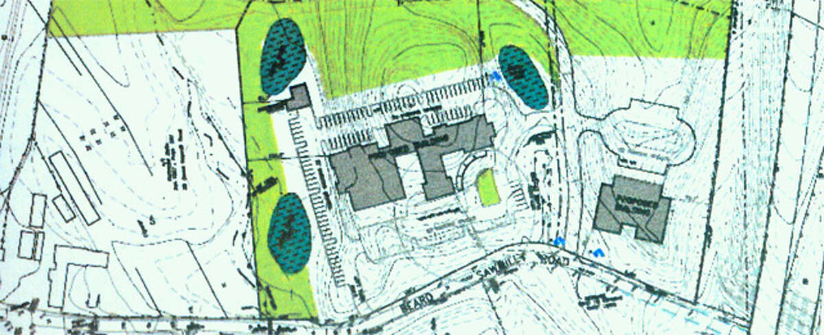 This image shows the 196-unit assisted living facility that would be built close to Beard Sawmill Road, shown at the bottom.