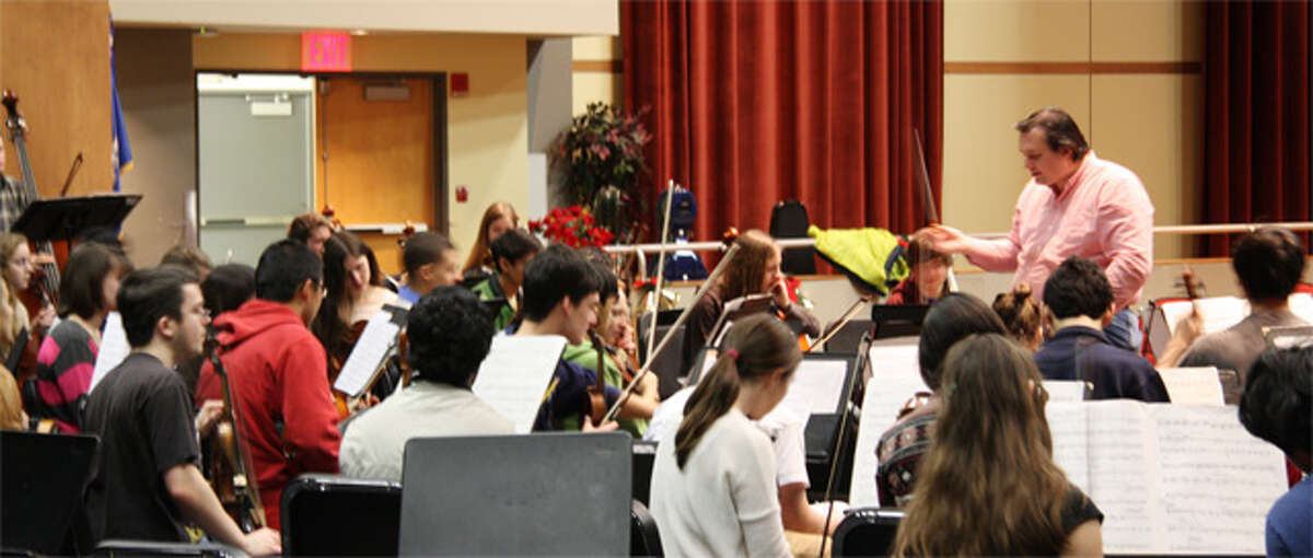 Members of the Greater Bridgeport Symphony Orchestras at a rehearsal.