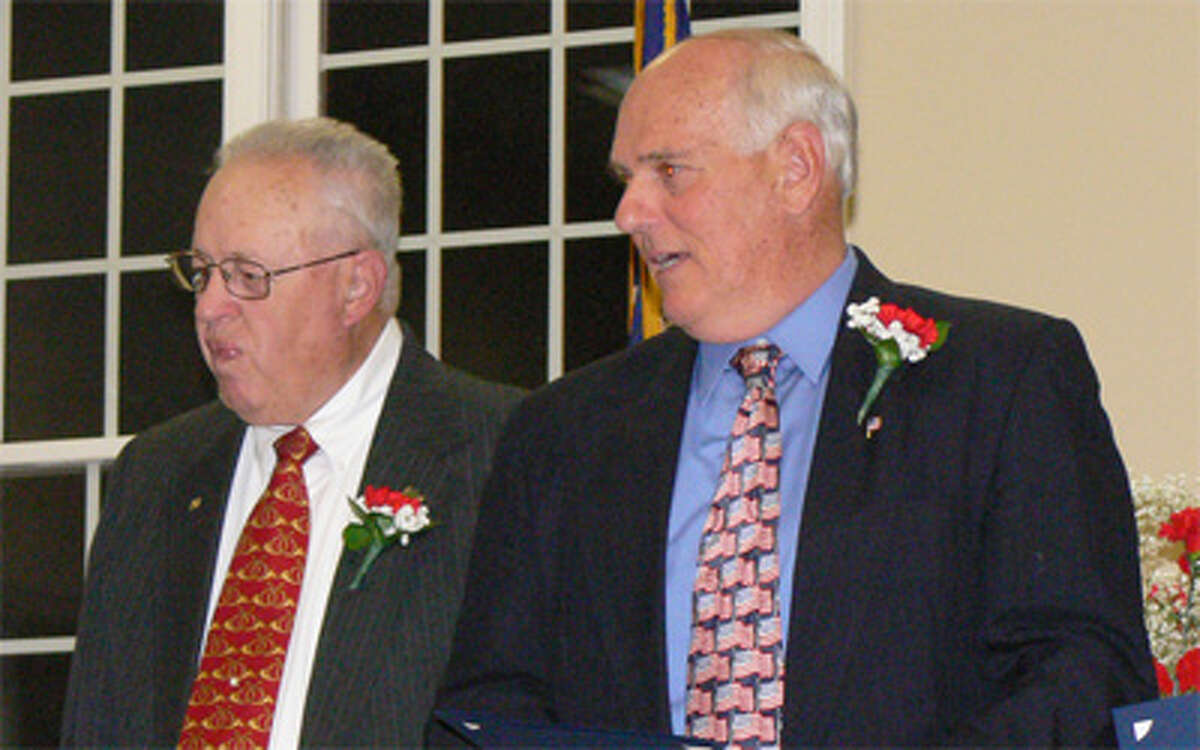 Alderman John Papa, right, with Board of Alderman President John Anglace during the 2013 swearing-in ceremony for Shelton municipal elected officials.