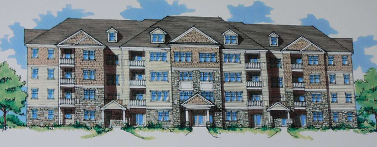A rendering of the approved, updated design for the six residential buildings at 740 Bridgeport Ave.