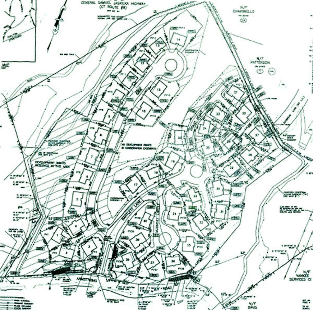 A zoning document that shows the Cranberry Hill Estates development, with Armstrong Road on the bottom. Route 8 would be in the upper left.