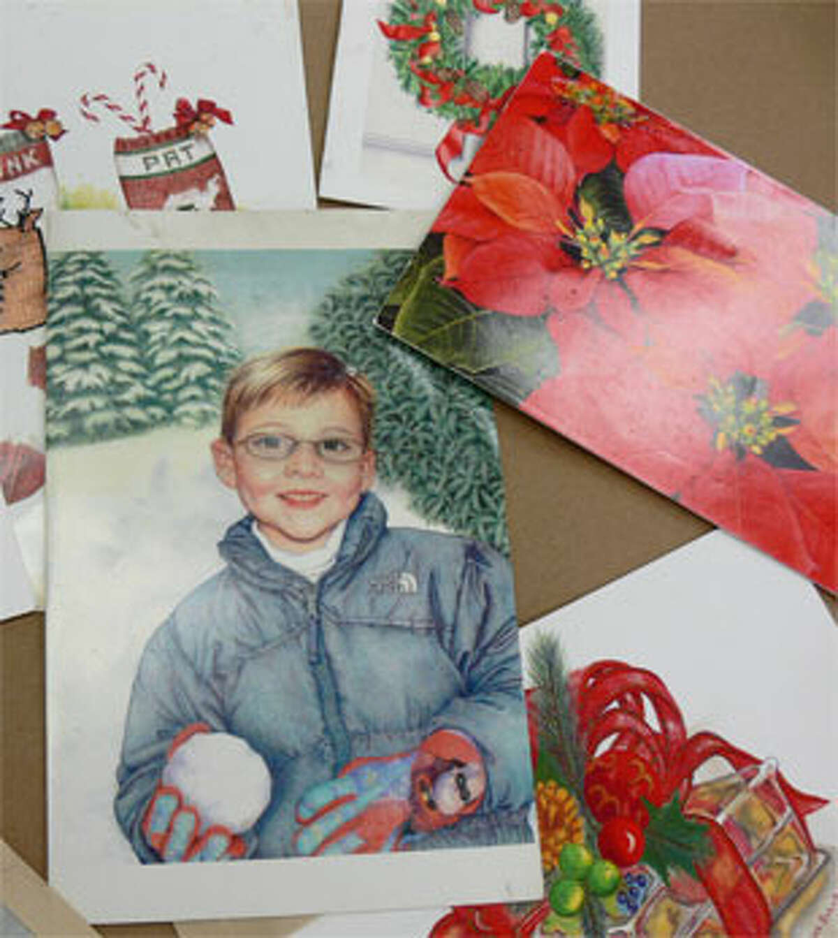 More holiday cards created by Bob Boroski School of Art students through the years that survived the fire.