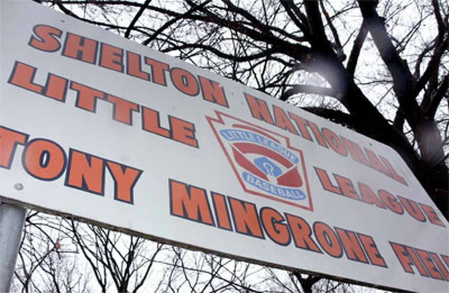 The sign for Tony Mingrone Little League Field at Riverview Park in Shelton. Tony Mingrone died on Dec. 22.