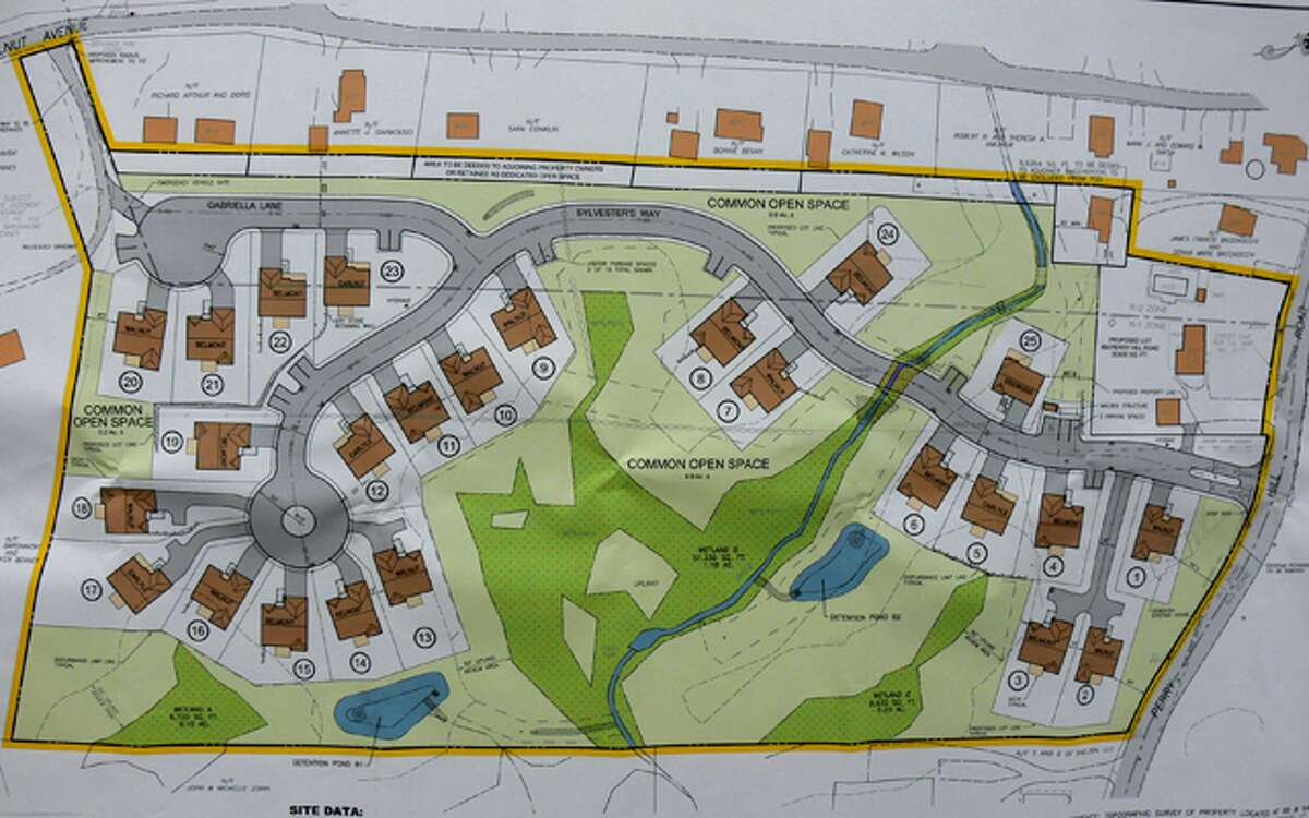 The final 25-home Perry Hill Estates plan as submitted, with Perry Hill Road on the right and Walnut Avenue on the top. Houses are in brown, common open space in green, wetlands in dark green, and the proposed two detention ponds in blue. The number of homes now will likely have to be reduced.