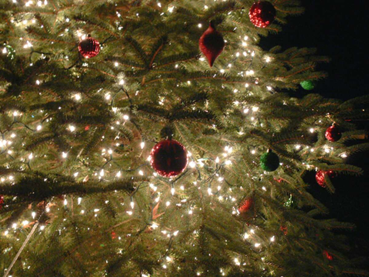 A close-up view of some of the ornaments on the tree in downtown Shelton.
