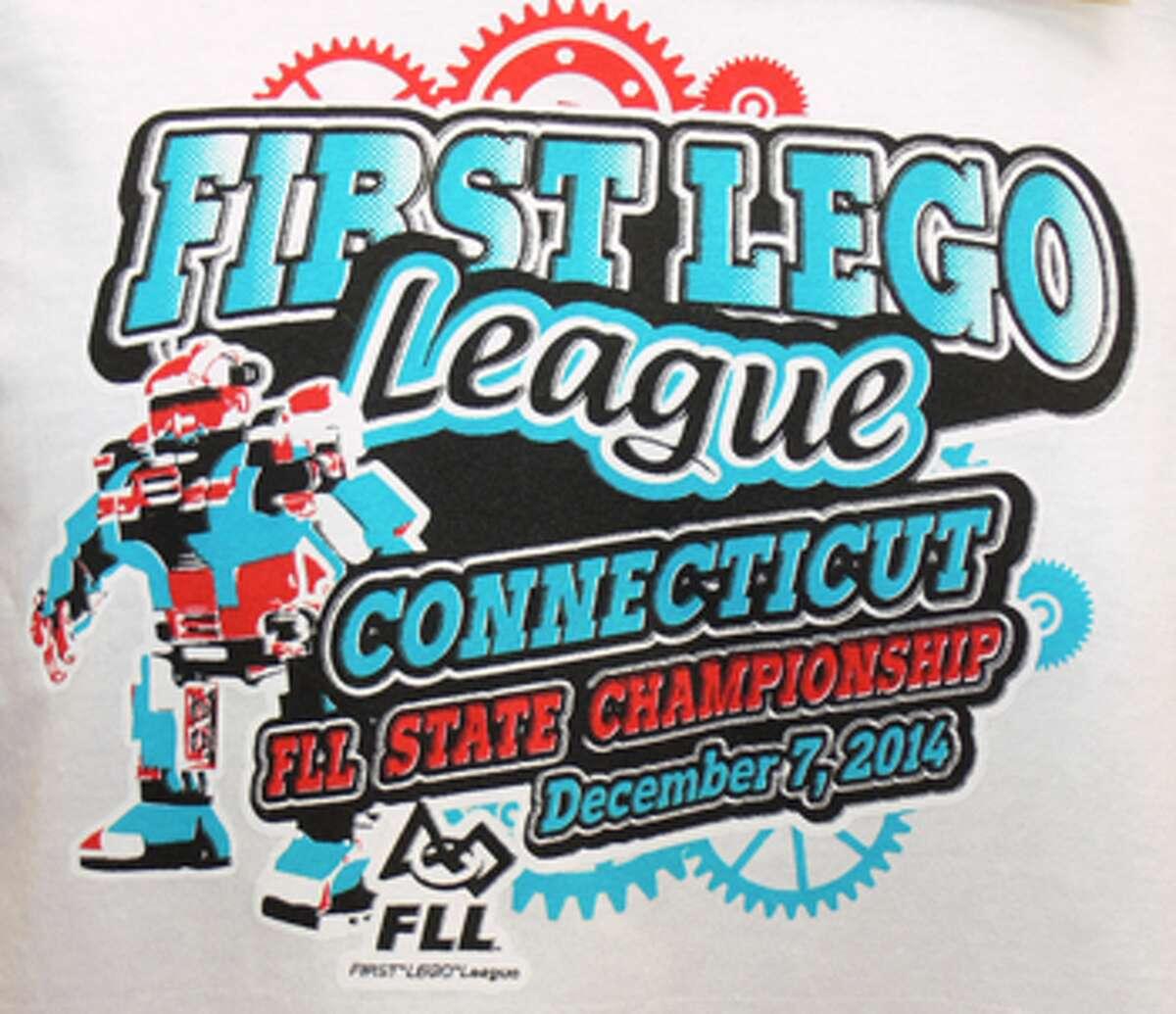 The statewide robotics tournament logo on a T-shirt.