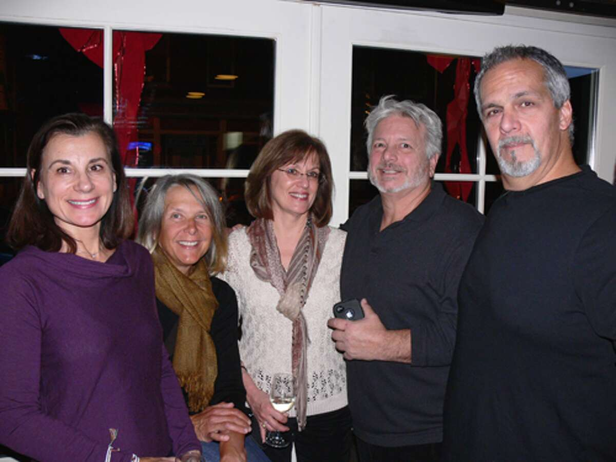 From left, class members Barb Tomaszek Templeton, Sue Chuckta, Sandra Barnes Fleet, Jim Orazietti and Ralph Labranch at the reunion. Orazietti was class president and helped organize the Nov. 28 reunion.