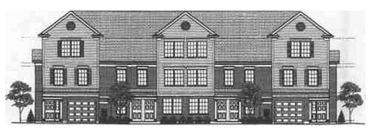 A rendering of a building at the proposed Pond Meadow. There would be two buildings with six units each, and two buildings with four units each.