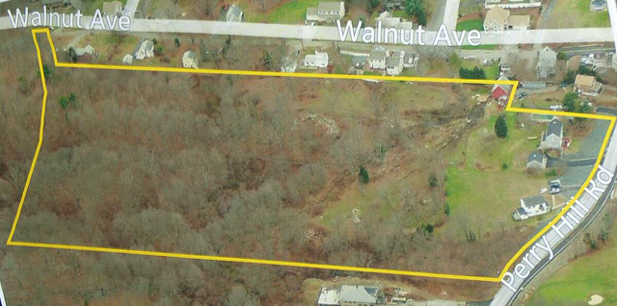 The yellow line indicates where a 24-home development as well as two existing homes would be located, with Perry Hill Road on the right and Walnut Avenue on the top.