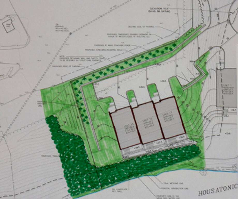 The plan for the half acre to be added to the Water's Edge project, with the Housatonic River at the bottom and the edge of the Latex Foam parking lot visible in the far upper left corner.