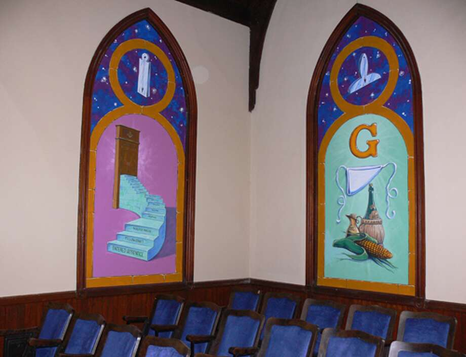 The Masonic Lodge hall in Shelton is decorated with many hand-painted murals.