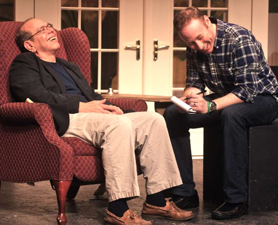 "Stan Alpert, left, and Brett Boles perform in ""Tuesdays with Morrie"" at Center Stage Theatre in Shelton."