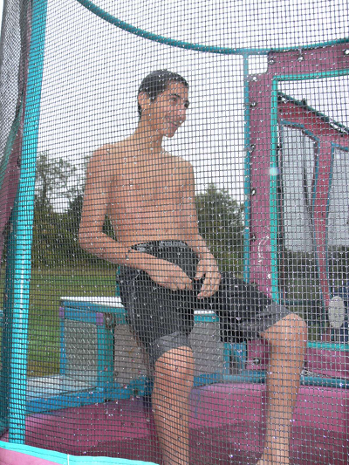 Nate Reyes was one of the brave Shelton High School wrestling team members to volunteer for the dunk booth. He's a sophomore at SHS.