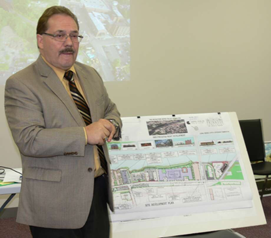 Developer John Guedes discusses his plans for Canal Street with the Shelton Planning an Zoning Commission's Downtown Subcommittee.