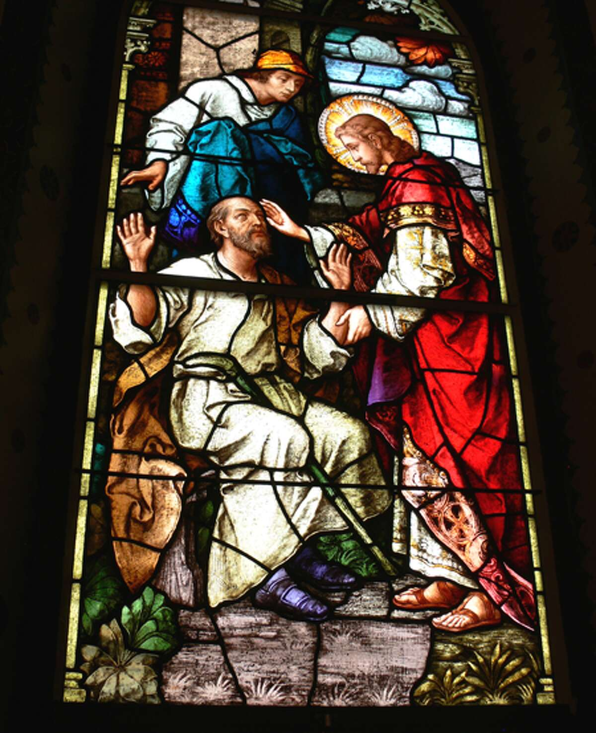 The stained glass windows inside the Roman Catholic church were brought to Shelton from Austria.