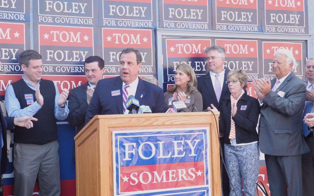 New Jersey Gov. Chris Christie campaigns for Republican gubernatorial candidate Tom Foley on Monday in Trumbull. Shown on the far left is Dan Debicella of Shelton, who is running for Congress in the Fourth District.
