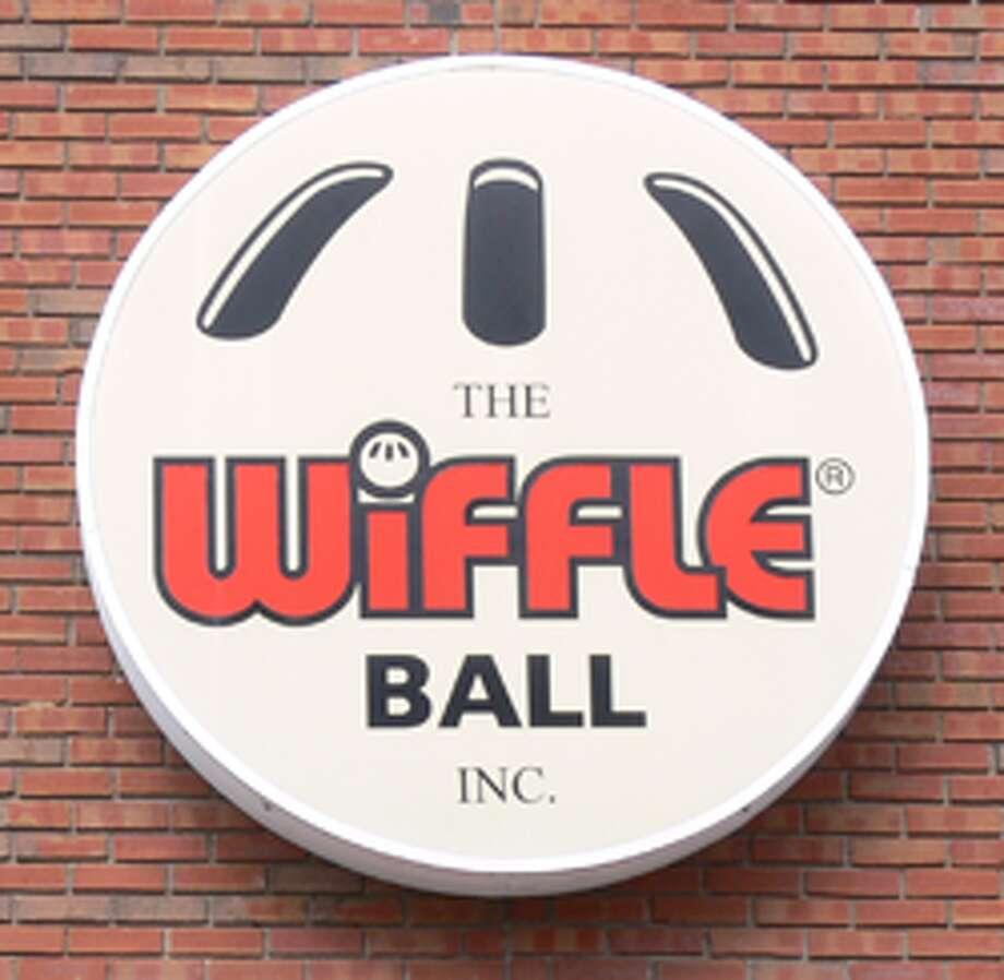 The Wiffle Ball logo on the company's Bridgeport Avenue factory.
