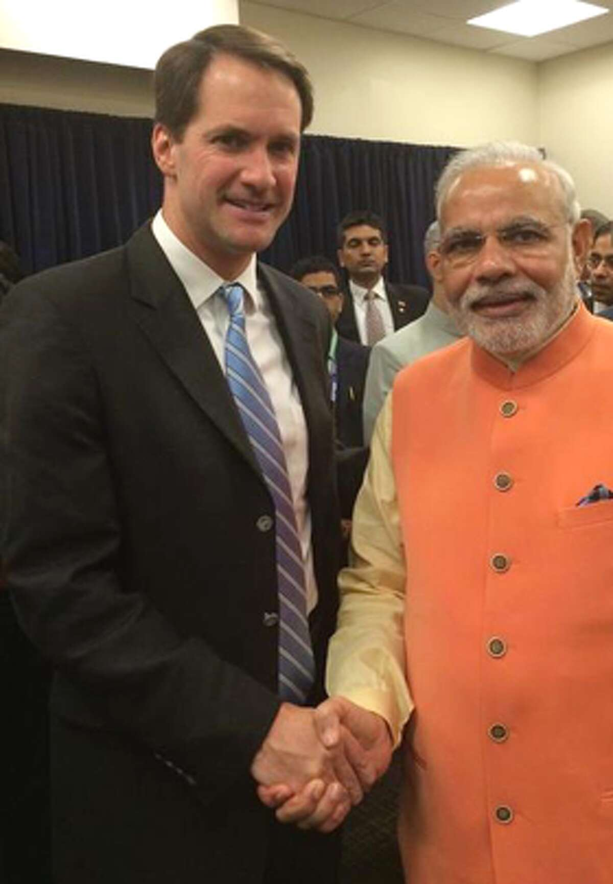 Rep. Jim Himes with India's Prime Minister Narendra Modi, who is on a state visit to the United States after addressing the U.N. General Assembly.