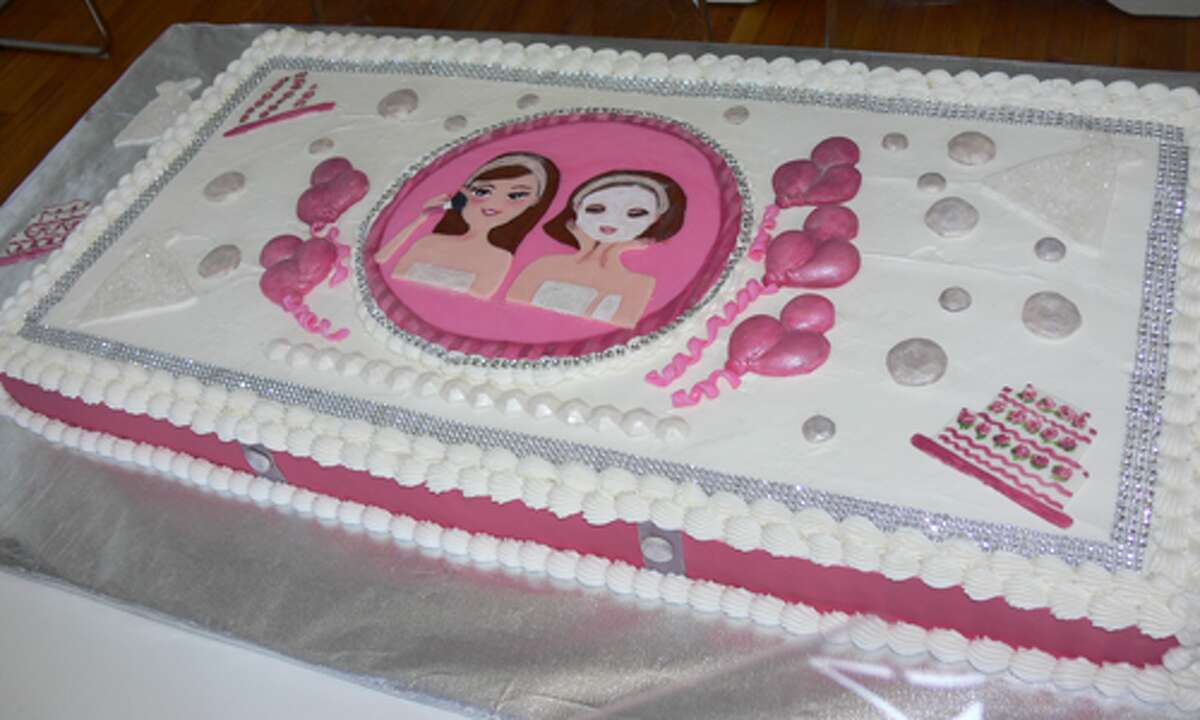 A cake, with the logo of the new business, made by a family member for the grand opening celebration.