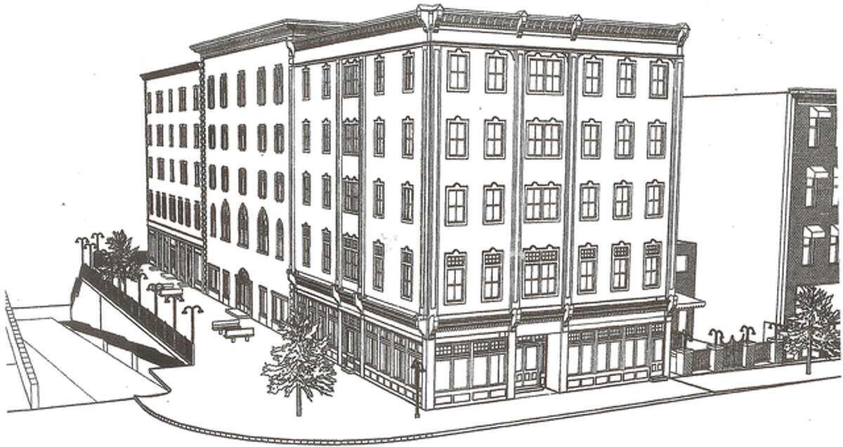 A rendering of what the 44,000-square-foot building would look like from Howe Avenue, with the building's longer Bridge Street side on the left.