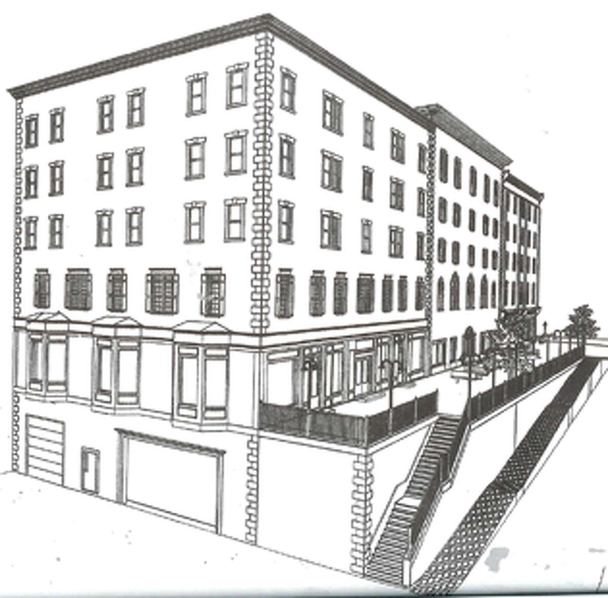 The proposed building, as seen from the rear on West Canal Street, would have first-floor retail, upper-floor apartments and underground parking.