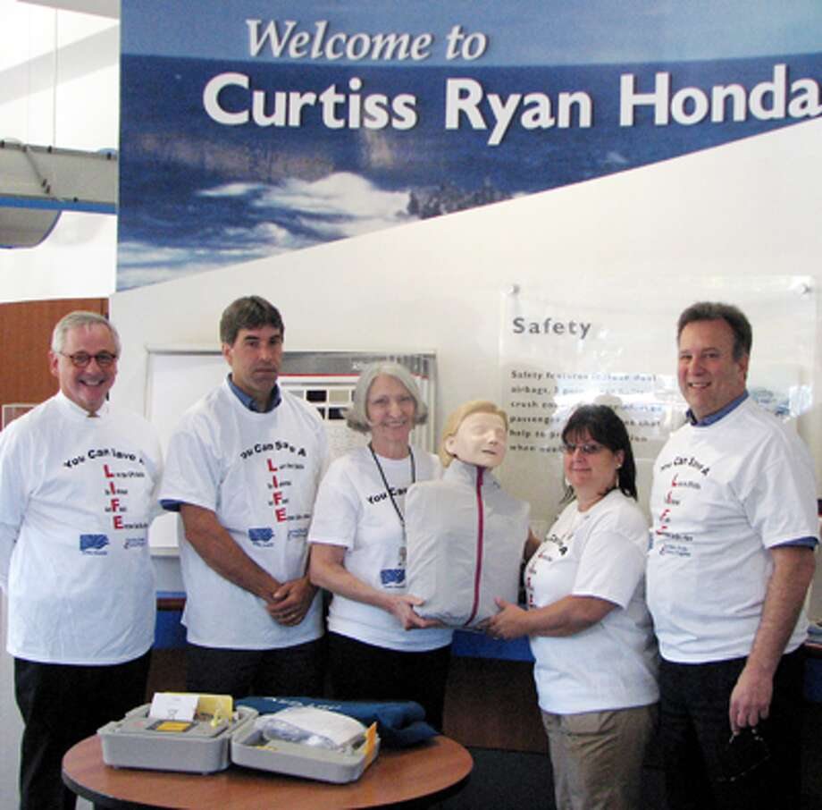 Attending the presentation of a CPR unit to Griffin Hospital are, from left, James Fleming of the Connecticut Automotive Retailers Association; Rick Foehrenbach of Curtiss Ryan Honda; Daun Barrett of Griffin Hospital Community Outreach and Valley Parish Nursing; Cathi Kellett of Griffin Hospital CPR Training Center; and Edward DeMarseilles of Curtiss Ryan Honda.