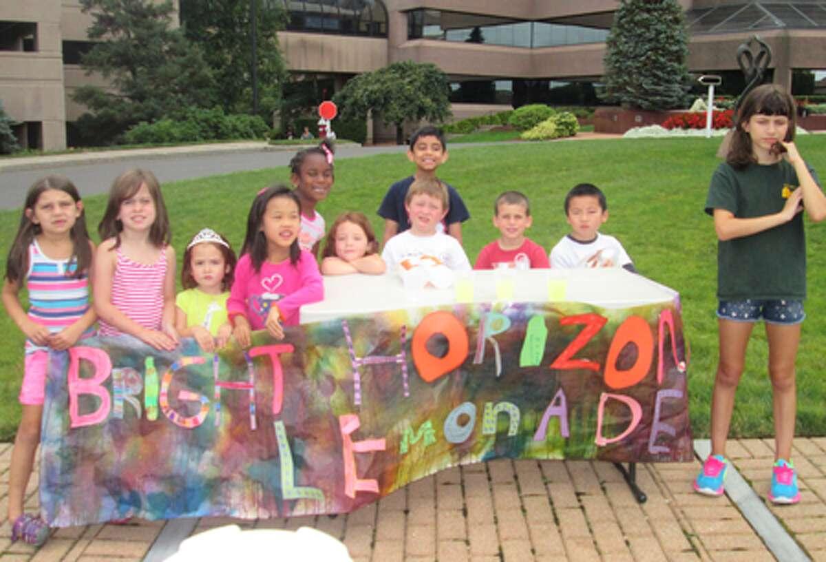 Children from Shelton Bright Horizons at the lemonade stand.