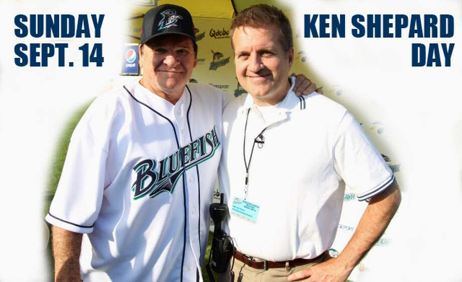 Ken Shepard, on right, with former Major League Baseball player and manager Pete Rose during a recent Bridgeport Bluefish promotional event.