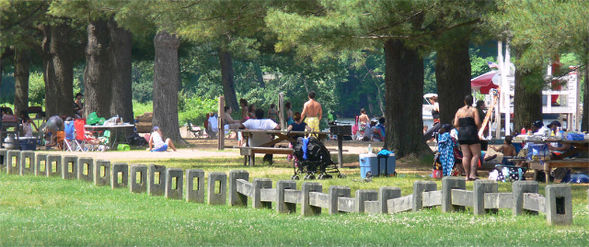 Park-goers can picnic near the beach at Indian Well State Park in Shelton.