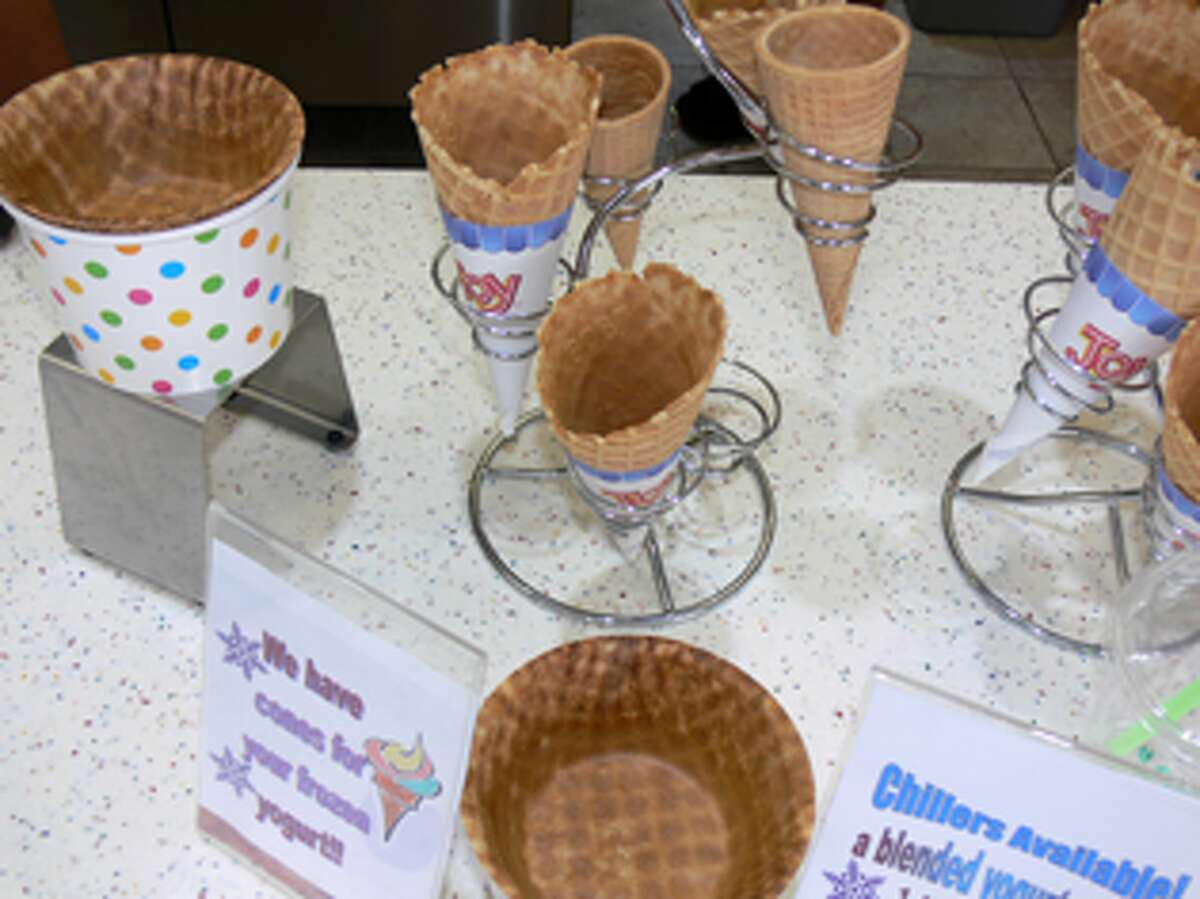 The shop offers waffle cones and waffle bowls.