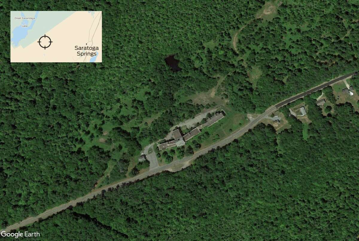 An aerial view of The Homestead, a former tuberculosis hospital in Providence, N.Y., east of Saratoga Springs. (Google Earth image)