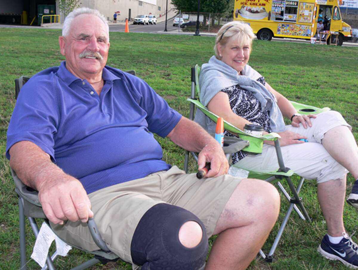 Greg and Nancy Cahoon of Shelton arrived early to get a good location for the concert.