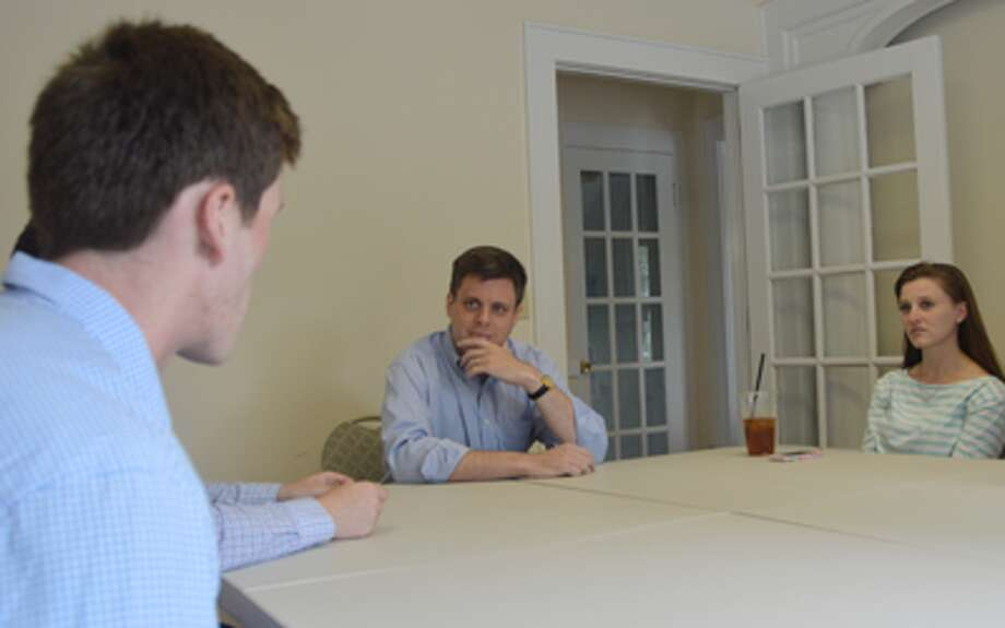 Republican congressional candidate Dan Debicella of Shelton meets with college students and recent college graduates as part of his listening tour.