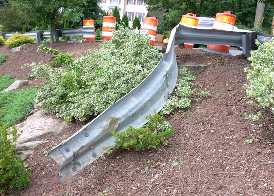 The damaged guardrail at Route 110 and Maple Avenue.