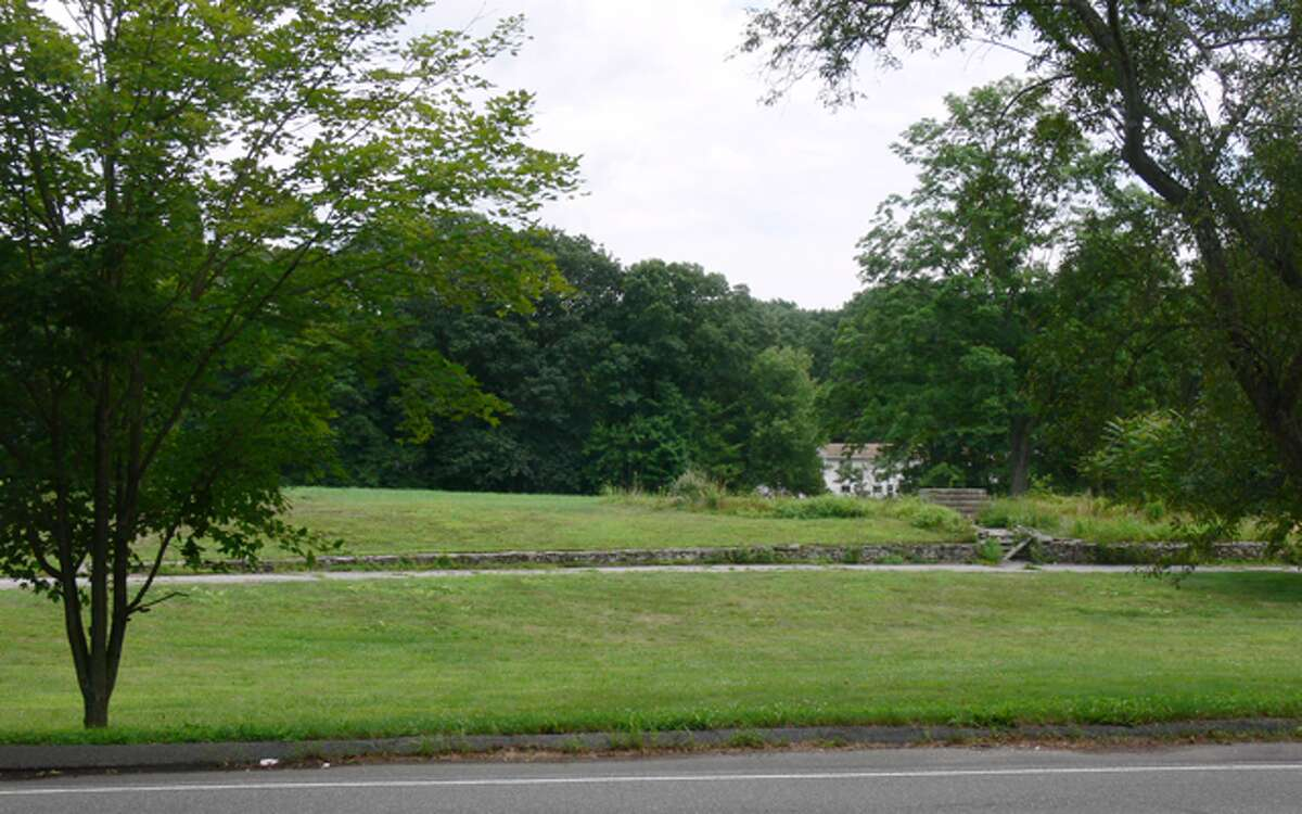The cemetery will be built on this parcel at 216 Huntington St. in Shelton, as seen from across the street on Blueberry Lane.