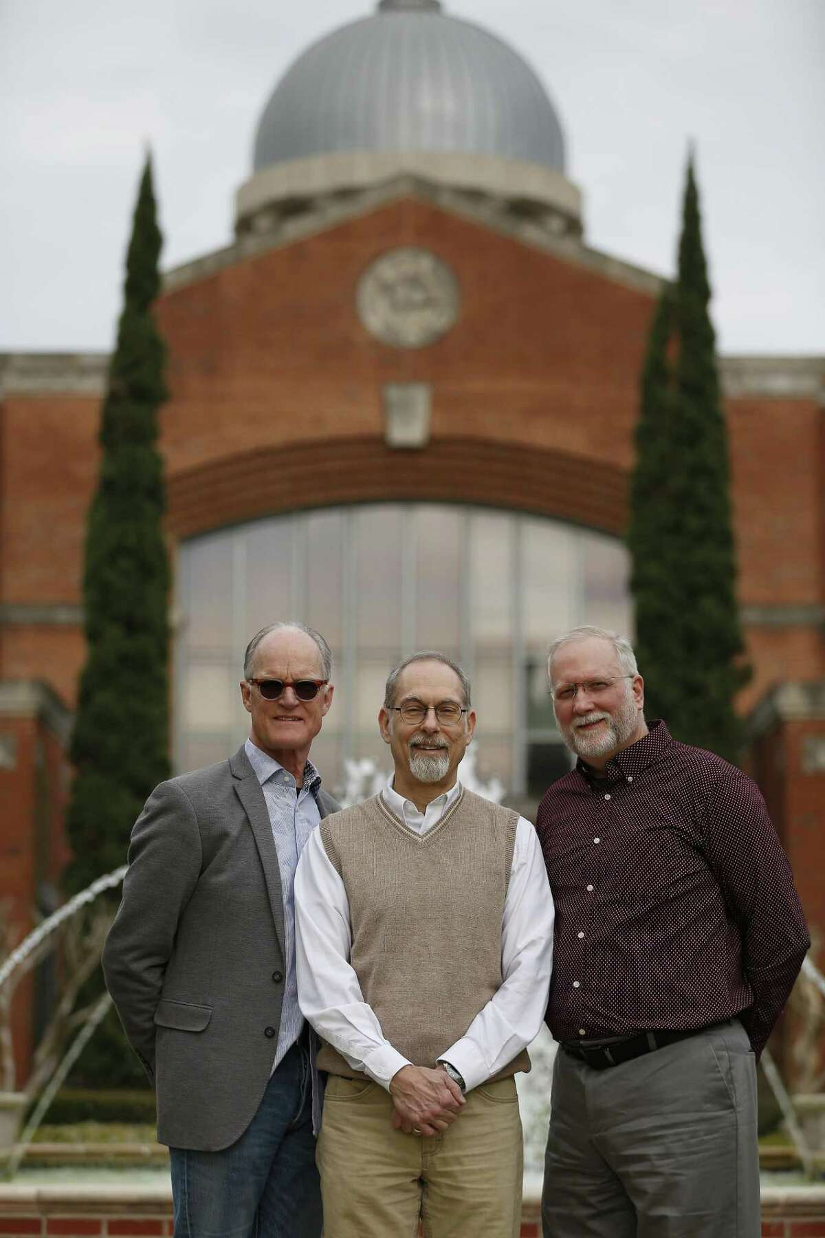 Consultant Warren Watson (l-r), Dr. Eric Johnson, the head of the new Gideon Institute of Christian Psychology and Counseling and Dr. Michael Cook on the Houston Baptist University campus Tuesday, March 19, 2019, in Houston.