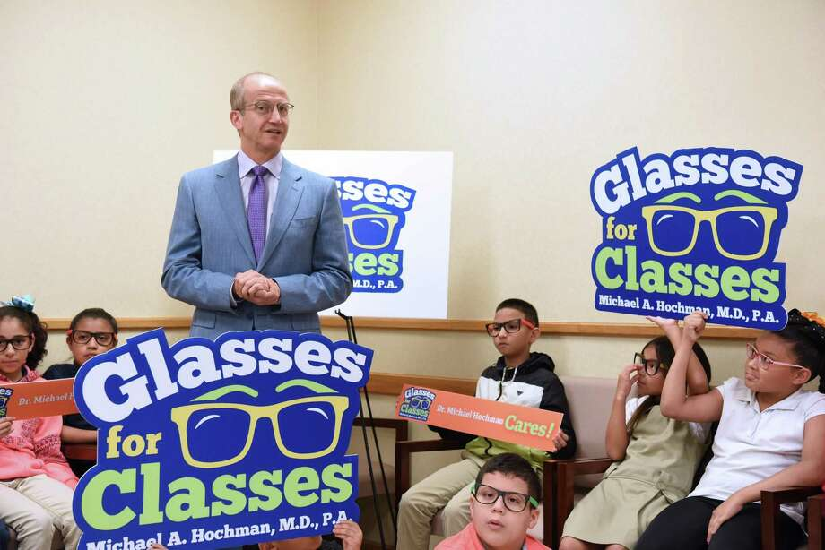 Dr. Michael A. Hochman presents his Glasses for Classes program that will provide free eye exams and glasses to students from Freedom Elementary  and J.C. Martin Elementary in the summer at Dr. Hochman's office, Wednesday, June 5, 2019. Photo: Christian Alejandro Ocampo / Laredo Morning Times