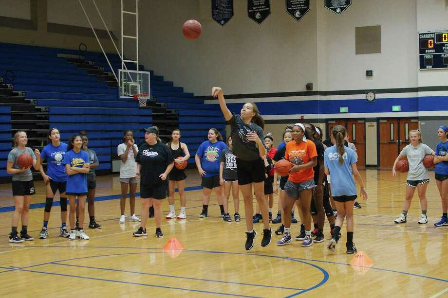 Lily Tankoua participates in a shooting competition at the Clear Springs summer girls basketball camp. Photo: Kirk Sides / Staff Photographer / © 2019 Kirk Sides / Houston Chronicle