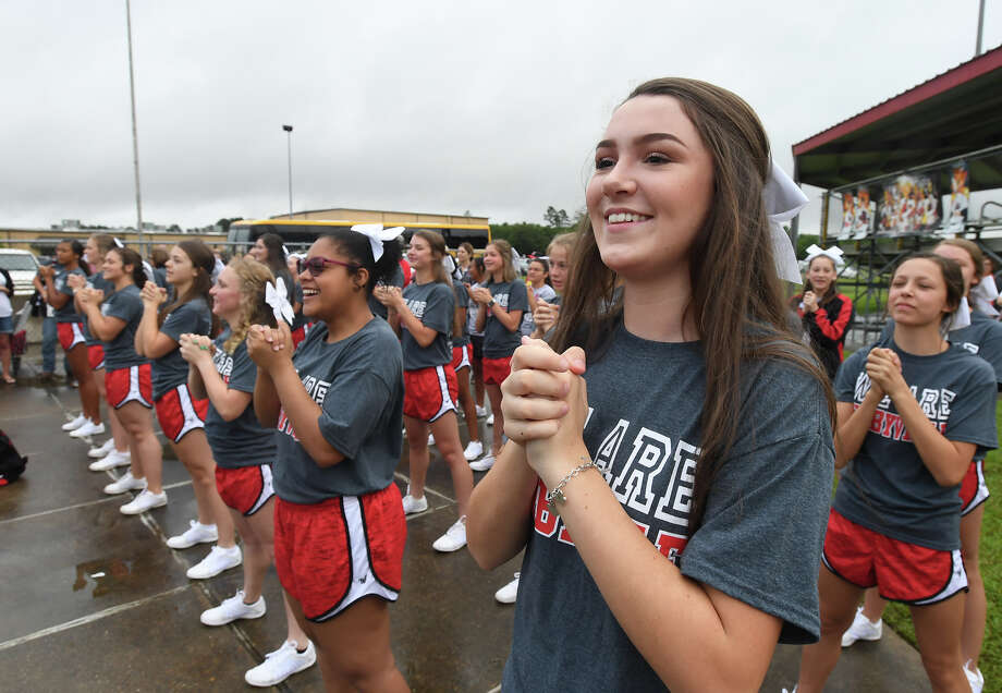 Kirbyville fans, students and district staff cheered on the Wildcats baseball team as they left for the state tournament Thursday morning. The Wildcats play Wall at 9 a.m. Friday. Photo taken Thursday, 6/6/19 Photo: Guiseppe Barranco/The Enterprise / Guiseppe Barranco ?