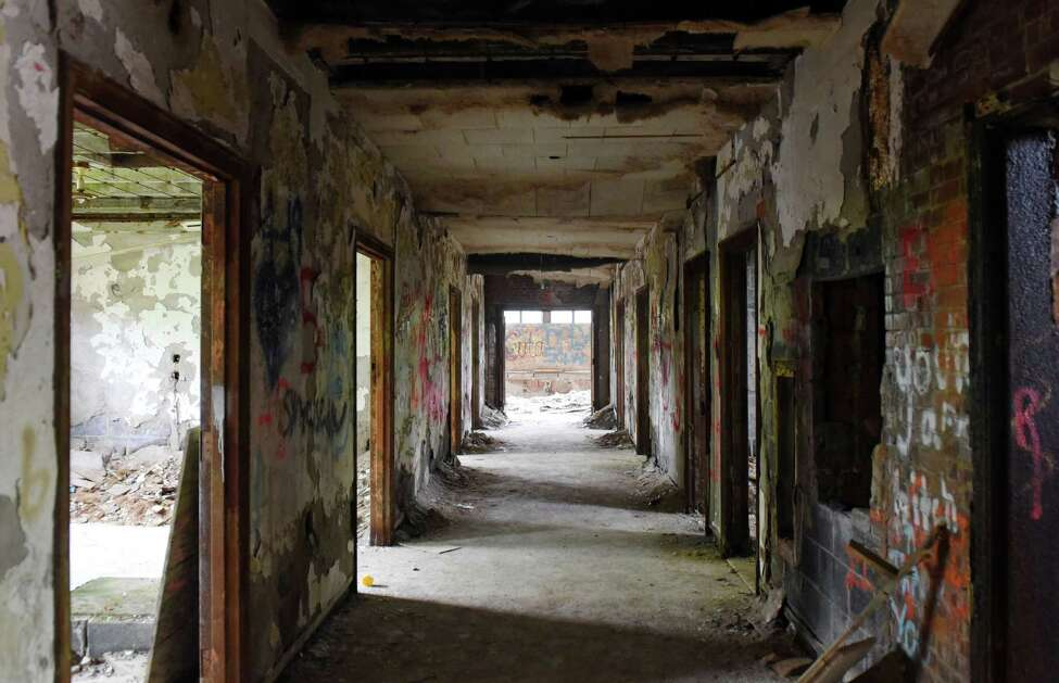 A hallway in the Homestead sanatorium on Thursday, May 23, 2019 in Middle Grove, NY. (Phoebe Sheehan/Times Union)