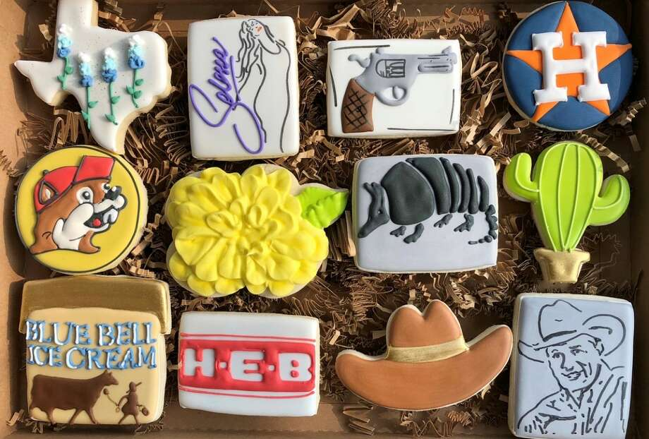 April Roldan's Houston and Texas-themed cookies have nearly doubled her clientele and online following after she first posted photos of her creations in Sept. of 2018. The Humble mother of three said the Texas-themed cookies are her most popular item that she sells out of her home-based business, Sugar High Cookies. Photo: Courtesy April Roldan/Sugar High Cookies